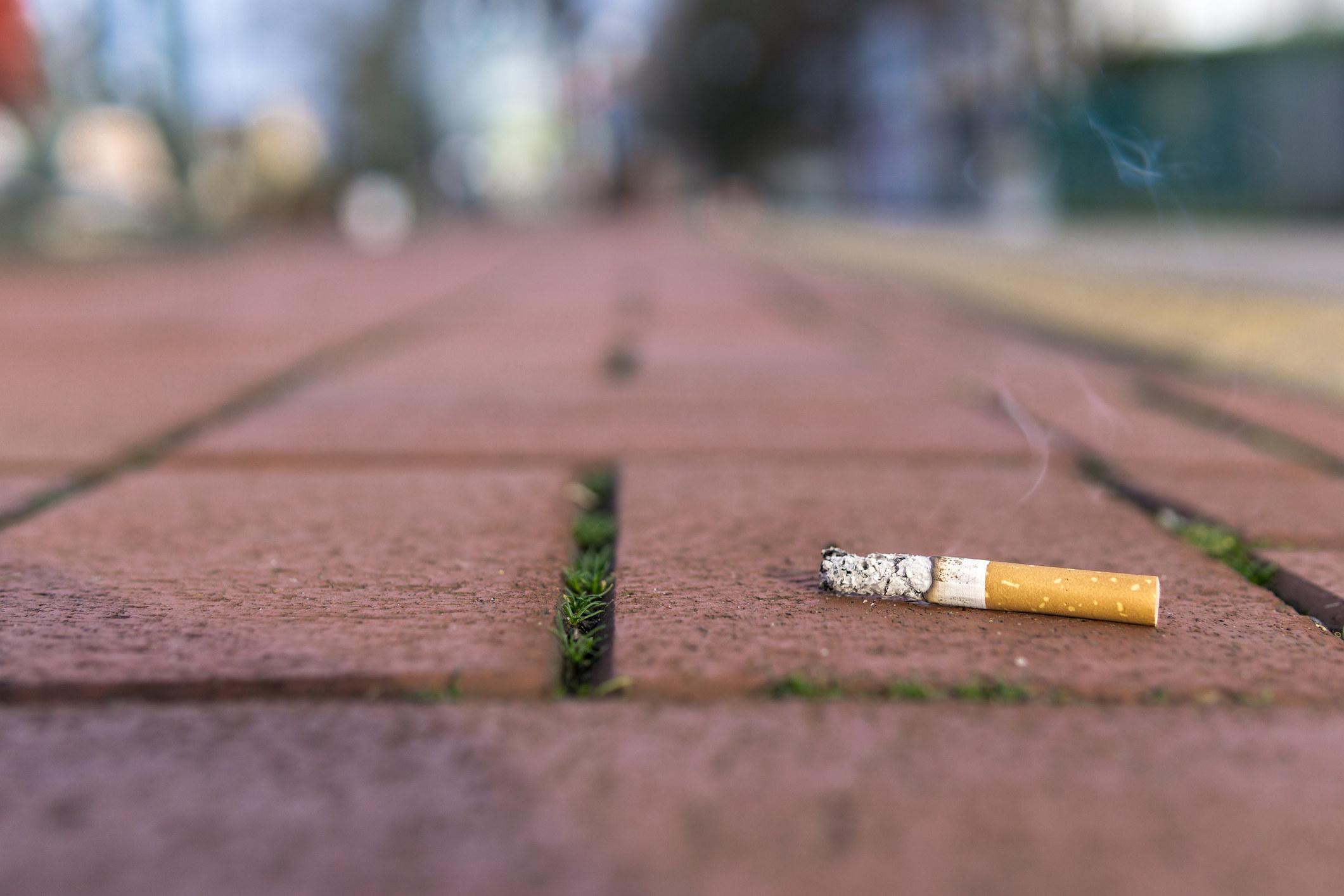 Used cigarette on the floor