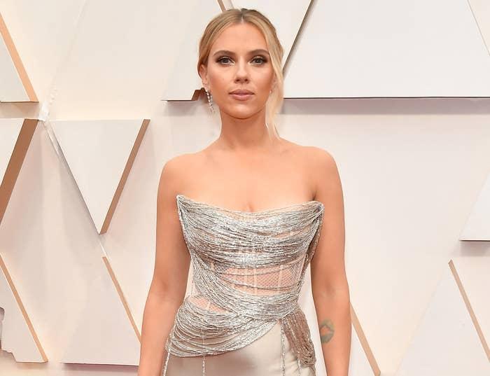 Scarlett wears silver strapless gown