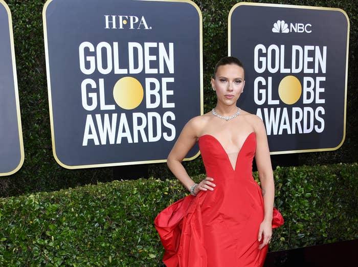 Scarlett on the Golden Globes red carpet