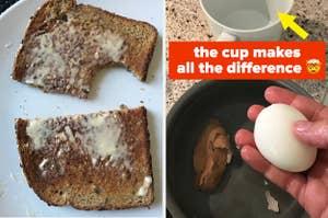 Buttered bread; hard-boiled eggs