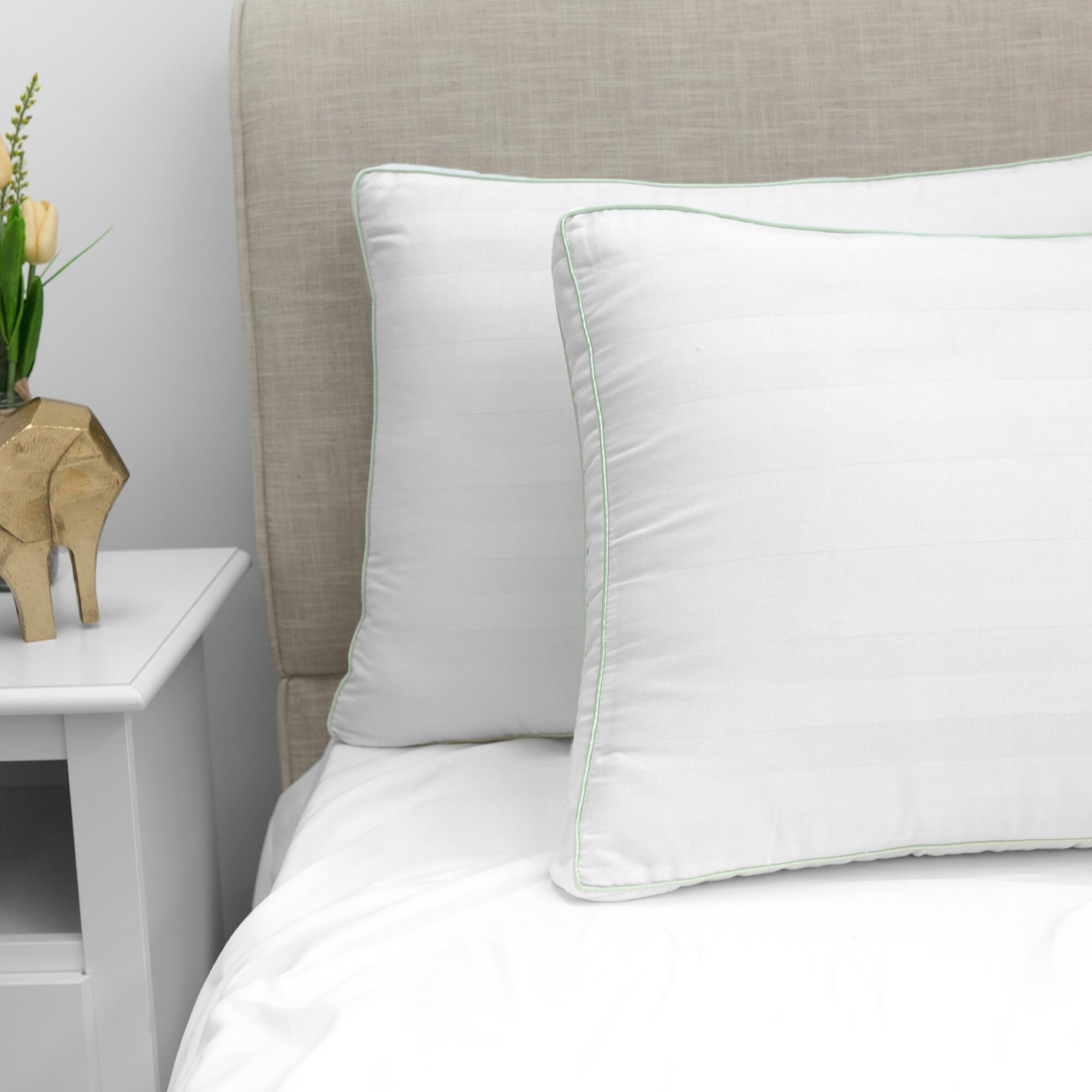 Pillows placed on bed