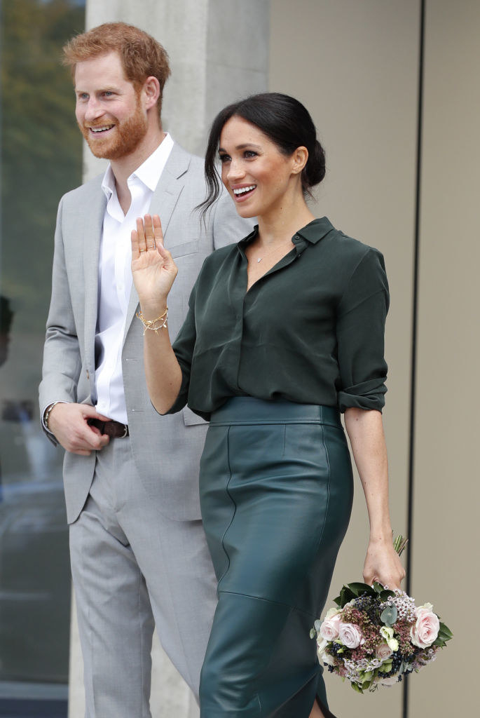 Meghan Markle (R) and Prince Harry at The University of Chichester Tech Park during an official visit to Sussex