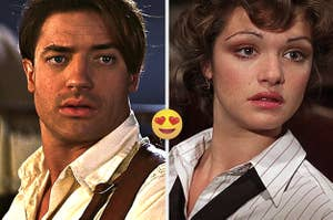 Side by side images of Rick and Evie from The Mummy with the heart eyes emoji in between them