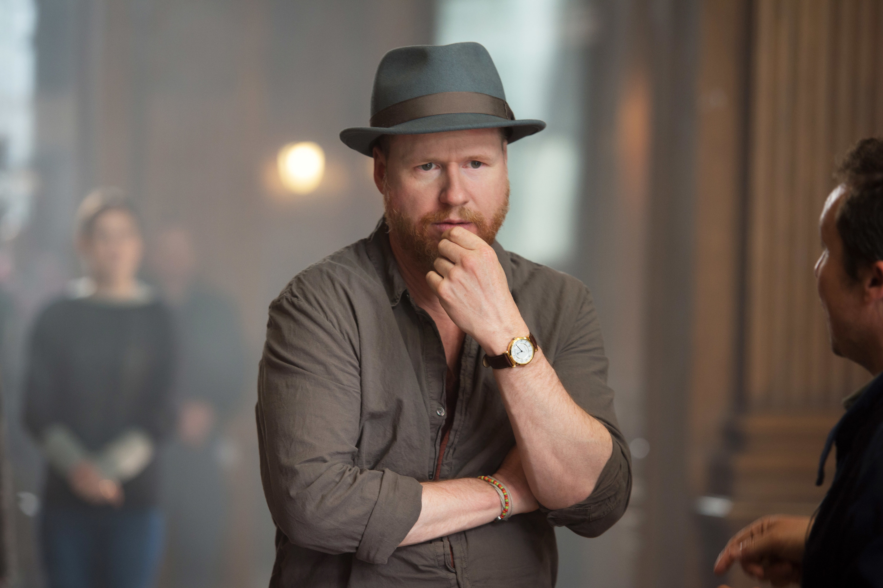Joss Whedon on the set of Avengers Age of Ultron