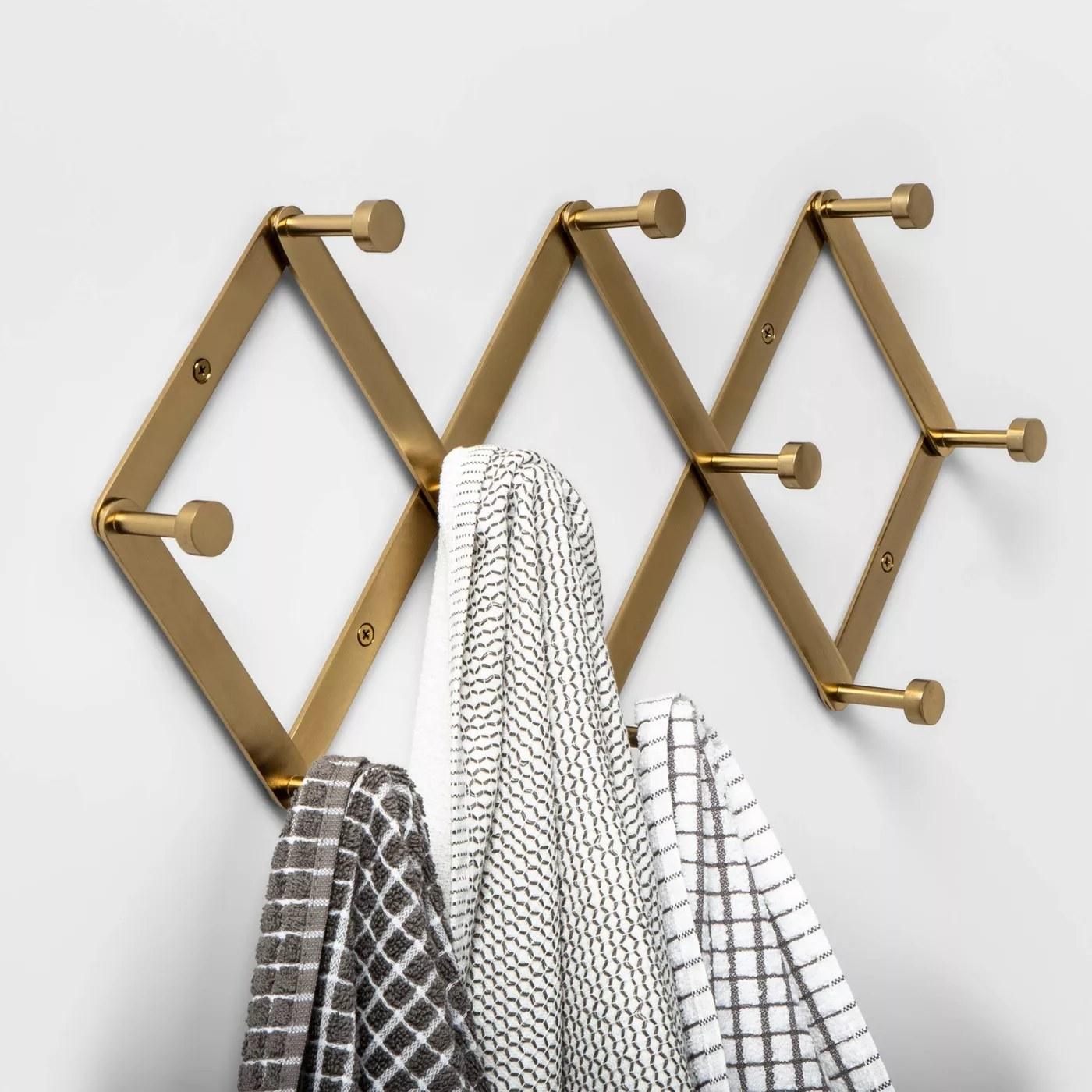 A brass hanging rack