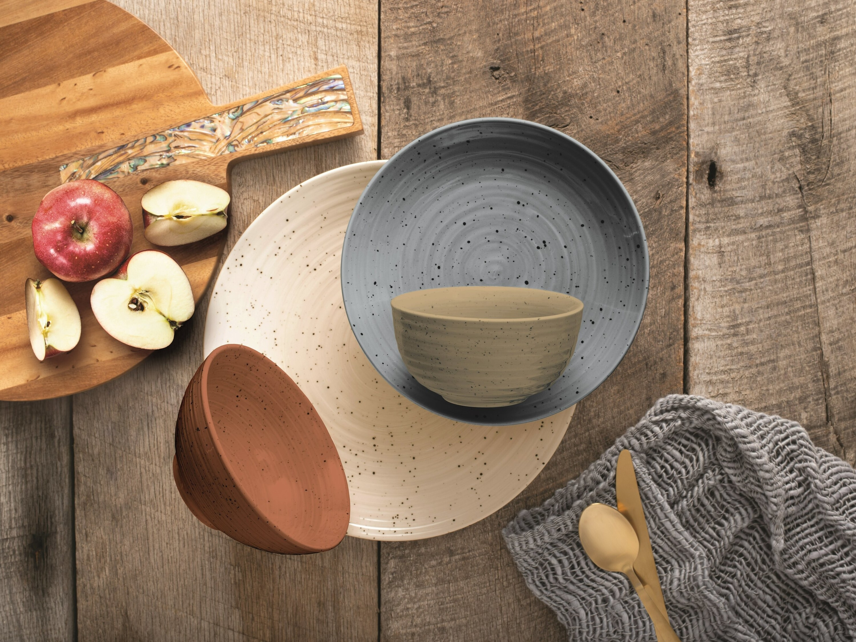 Dish set on wooden table