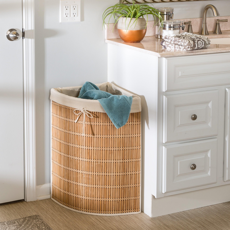 Wicker laundry basket in bathroom