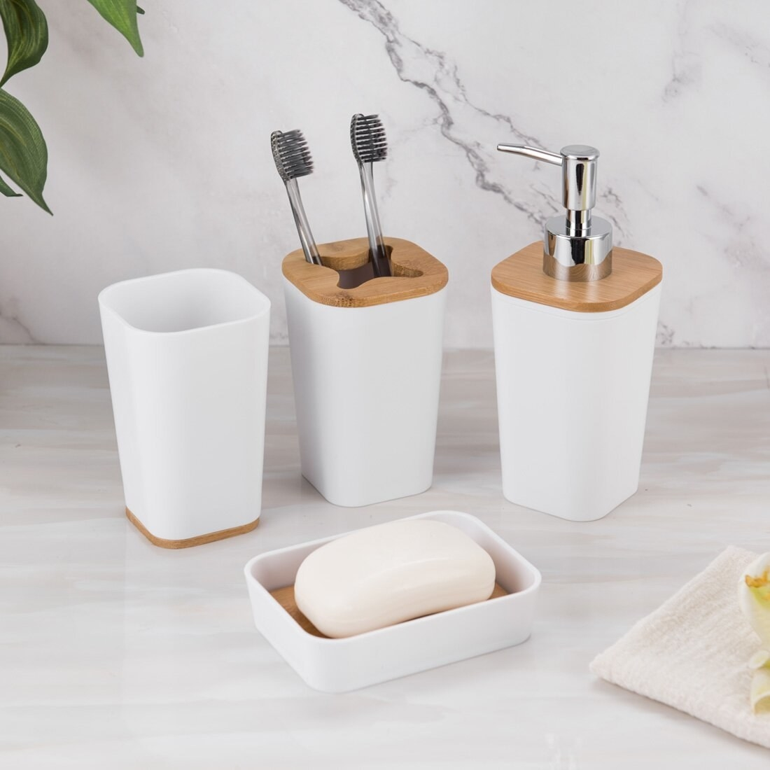 Bathroom accessory set on bathroom counter