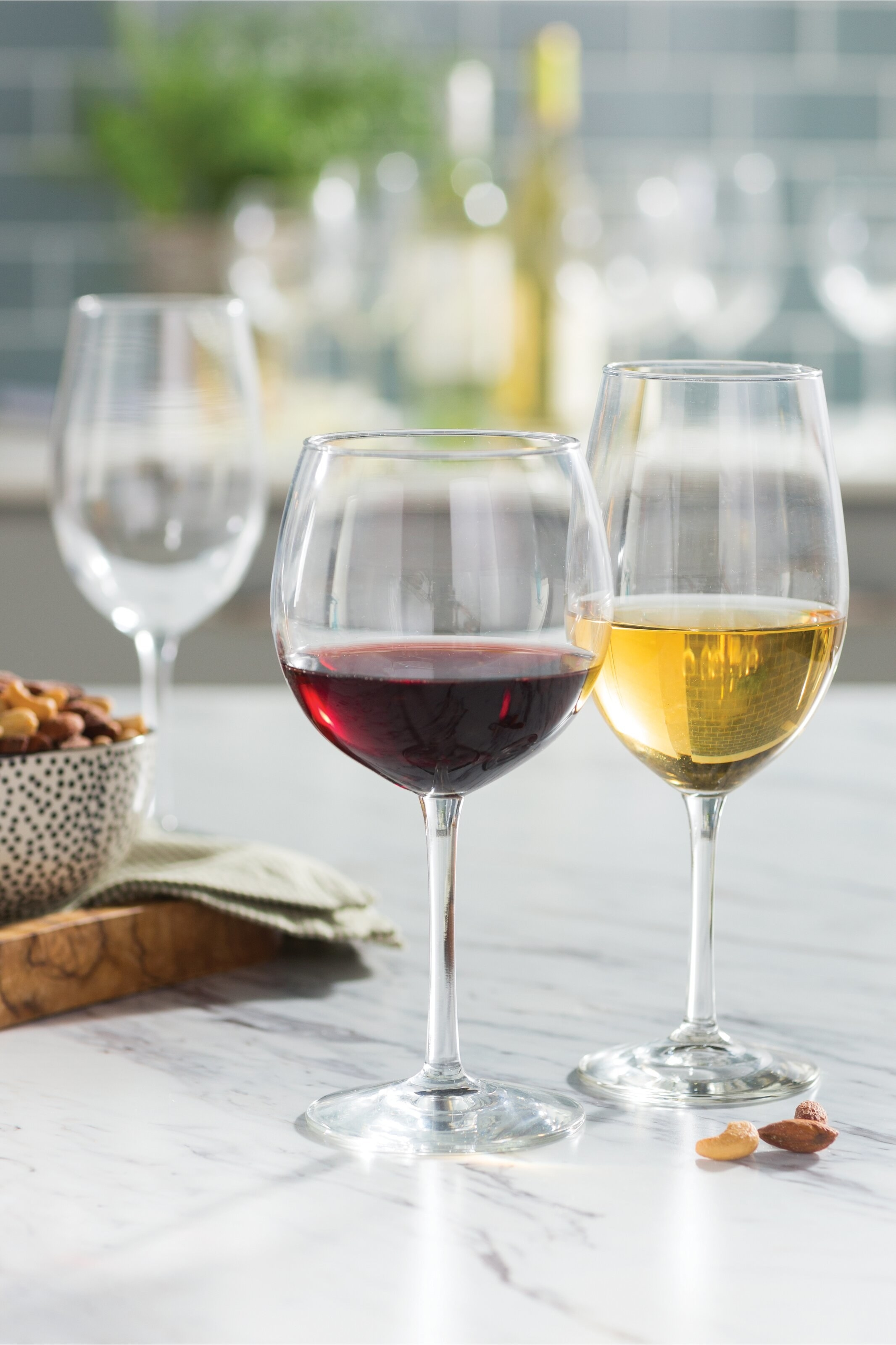 Wine glasses on kitchen counter