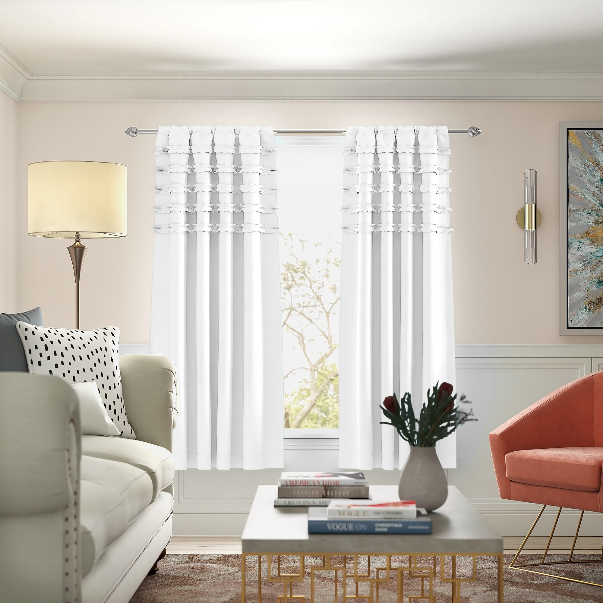 Black out curtains in hanging in living room