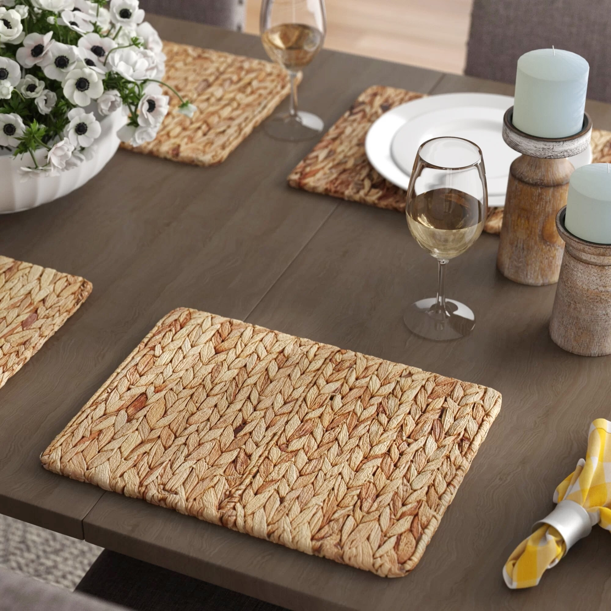 Wicker placemat on table