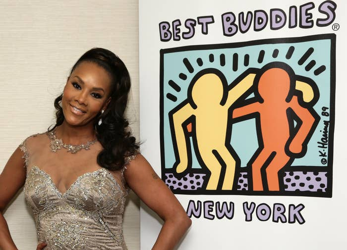 Vivica poses with a Best Buddies sign