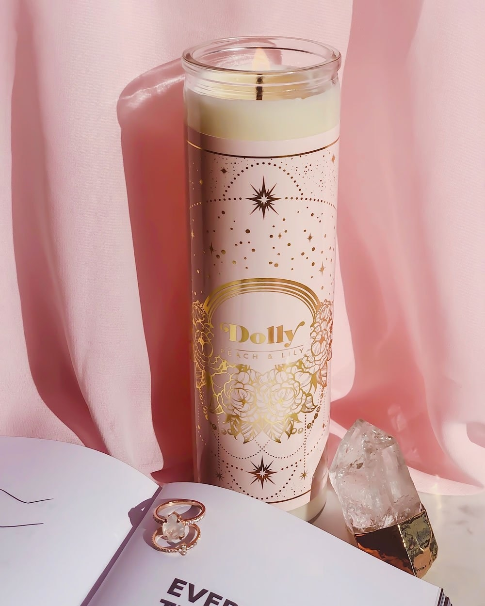 tall peach and lily candle