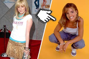 Ashley Tisdale in a very retro outfit beside Britney Spears in her toxic music video