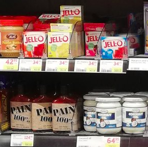 Coconut oil, pain jars, and many jello flavors