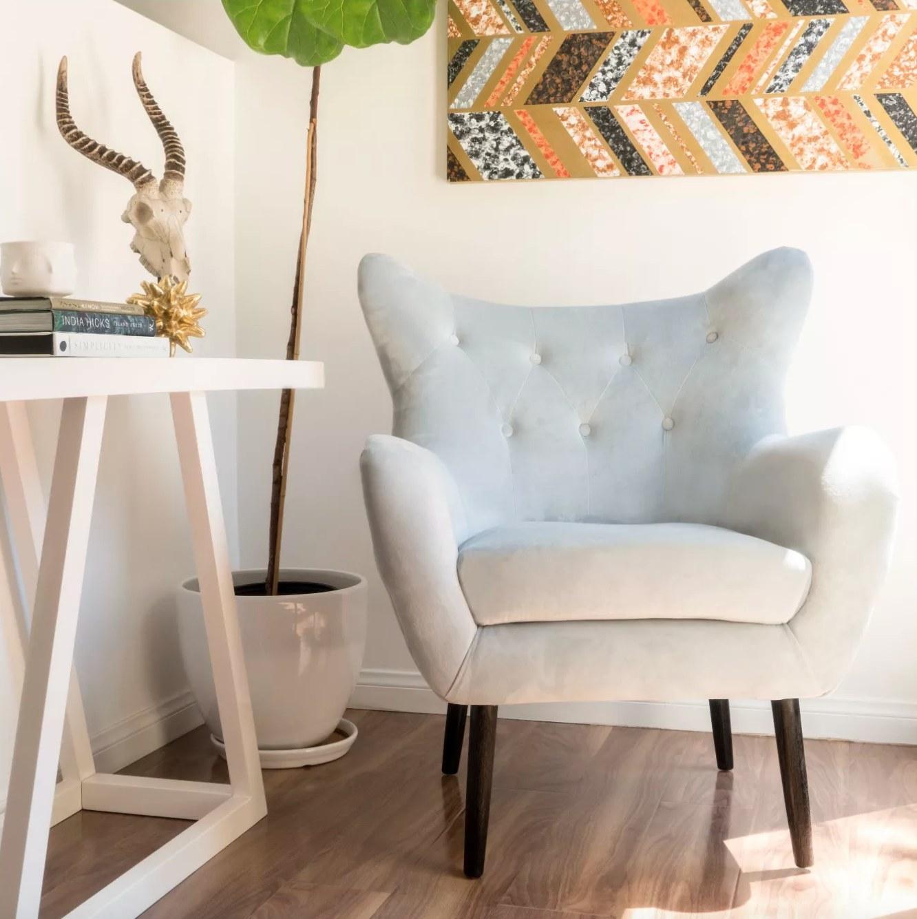 the velvet chair in white