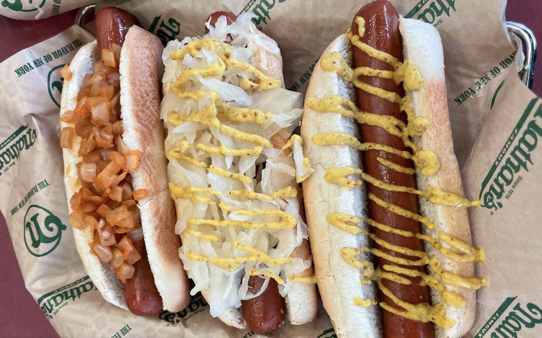 three hot dogs