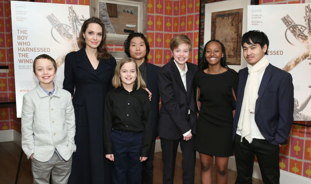 """Angelina and her six kids at """"The Boy Who Harnessed the Wind"""" premiere"""