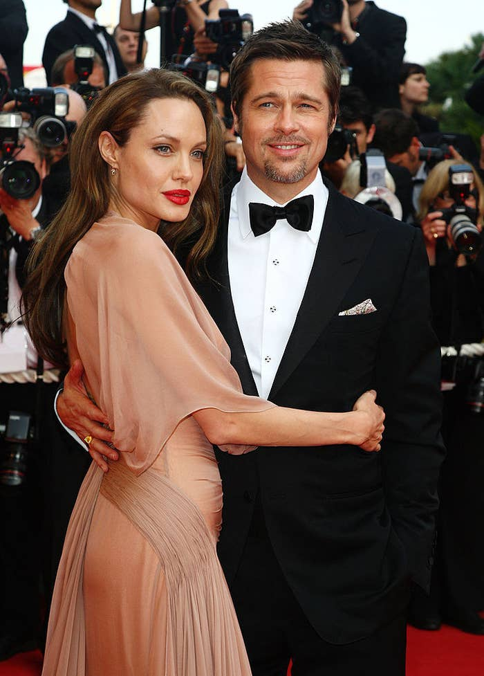 """Angelina Jolie and Brad Pitt at the """"Inglourious Basterds"""" premiere in 2009"""