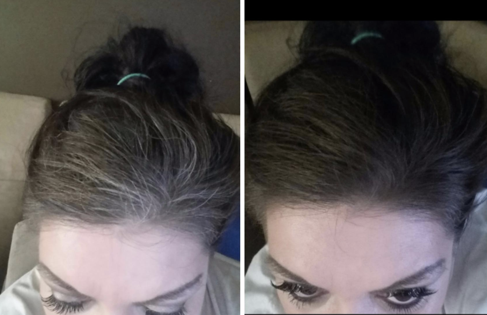 Reviewer before and after pic with gray roots in their hair that are then brown to match the rest of their hair