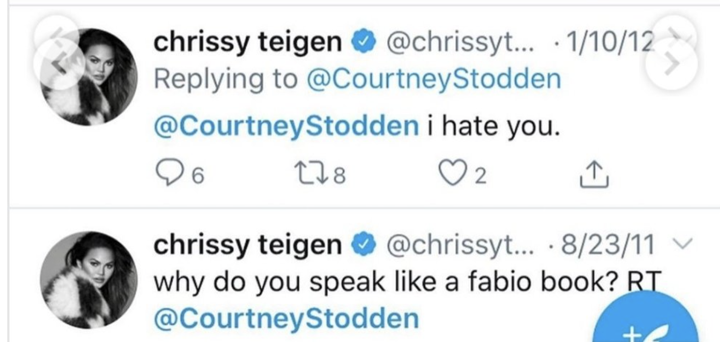 """Chrissy tweeted in 20212, """"@Courtney Stodden i hate you"""""""