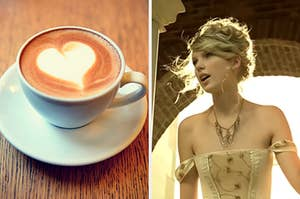 "On the left, a heart on top of a latte, and on the right, Taylor Swift in the ""Love Story"" music video"