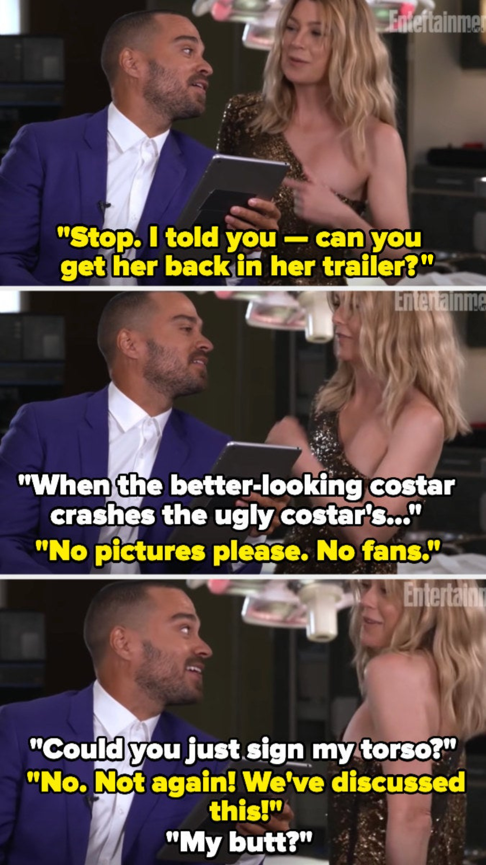 Ellen crashes Jesse's interview and they joke, pretending she's a fan
