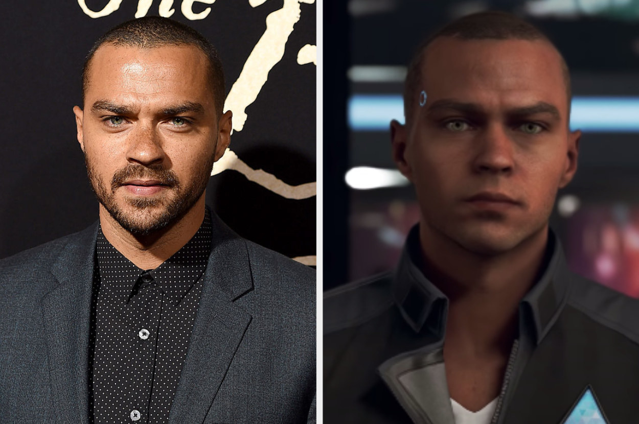 Jesse Williams posing for a photo, Markus picking up wall paint in Detroit Become Human