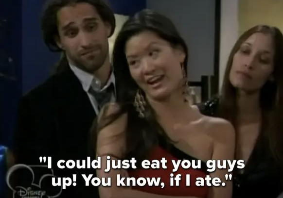 """model saying """"I could just eat you guys up! You know, if I ate"""" on Shake It Up"""