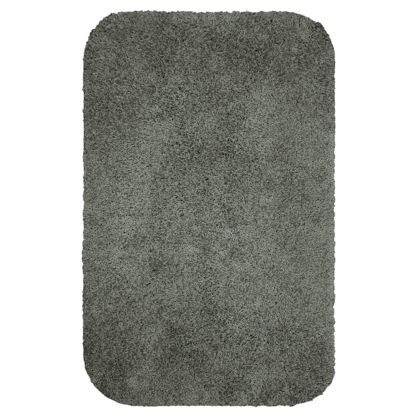 A grey bathroom mat