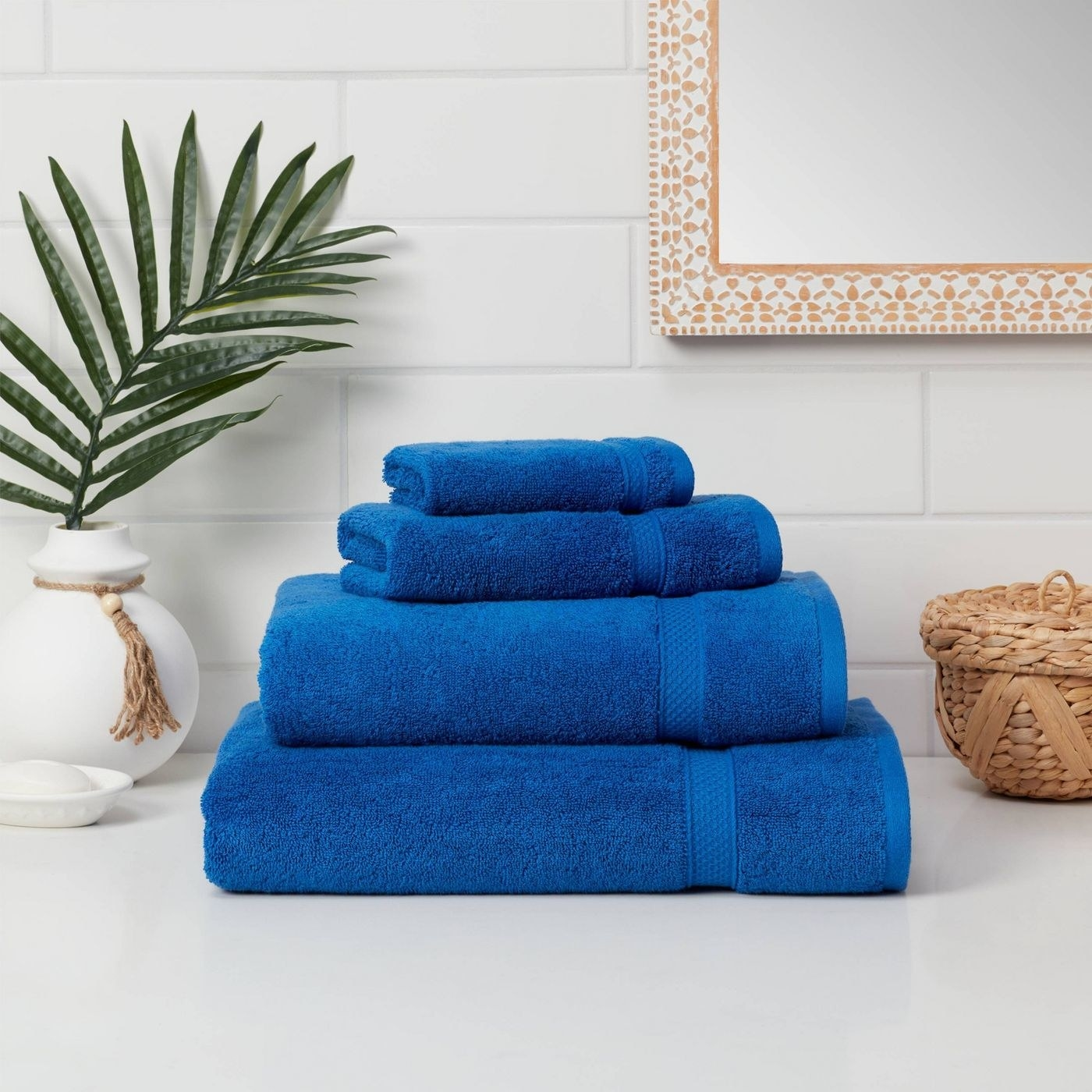 Blue towels in a home