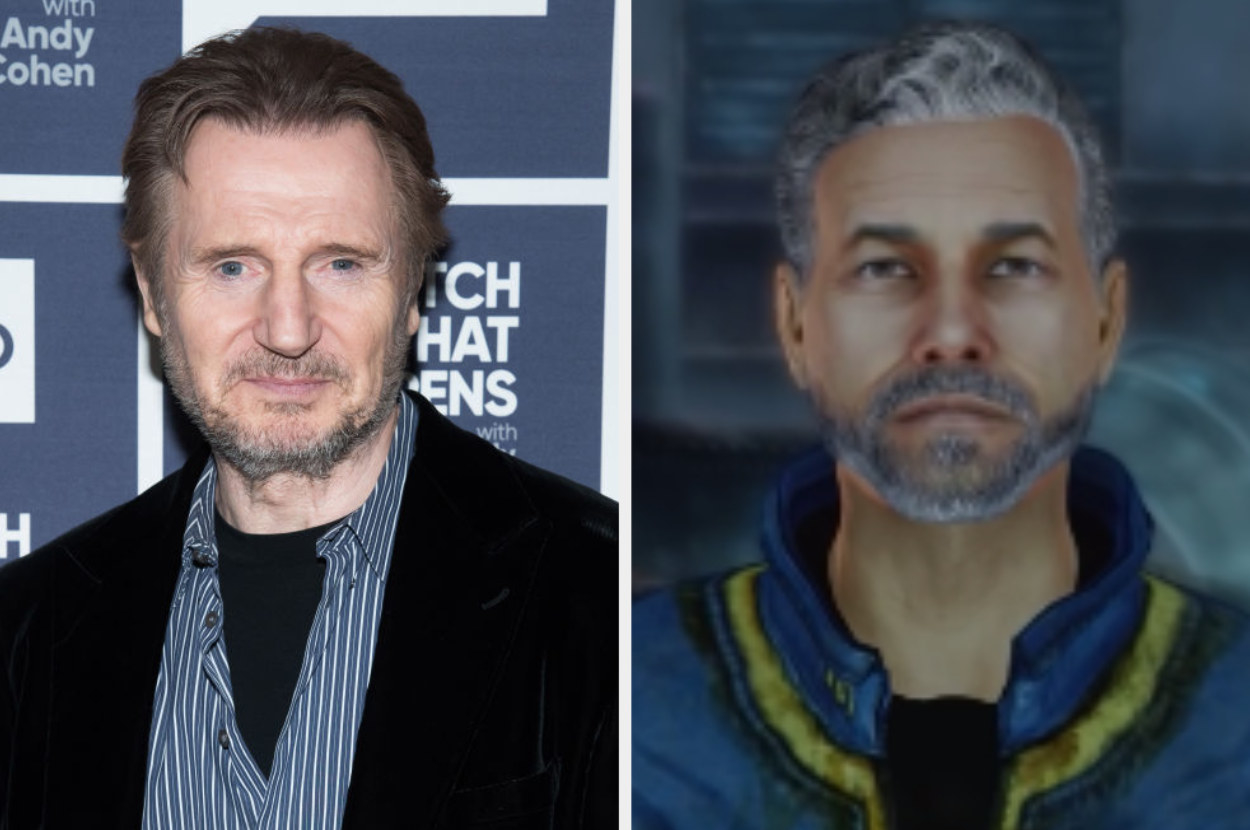 Liam Neeson posing for a photo, James talking to his child in Fallout 3