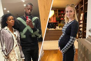Dywane Wade and Gabrielle Union posing for a mirror selfie; Sophie Turner posing for a photo while pregnant
