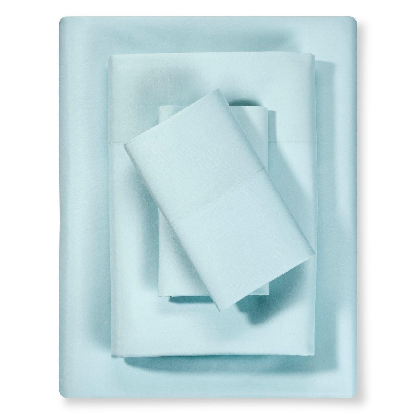 A set of blue microfiber sheets