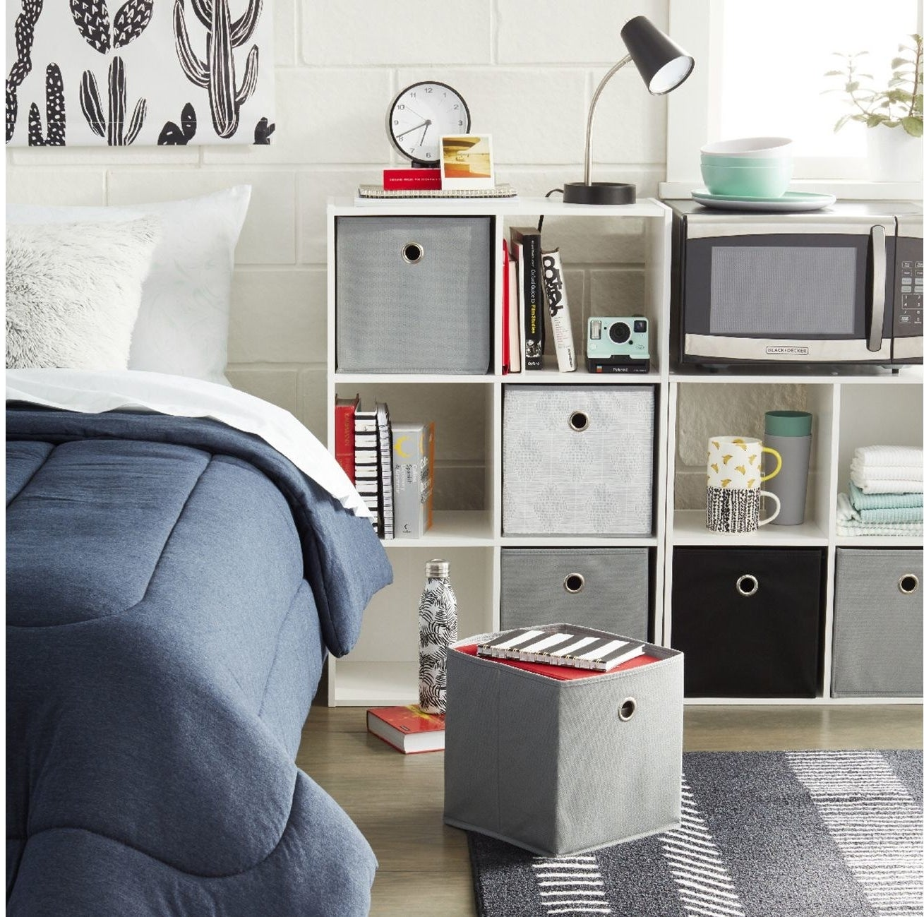 Storage cubes in various colors in a room