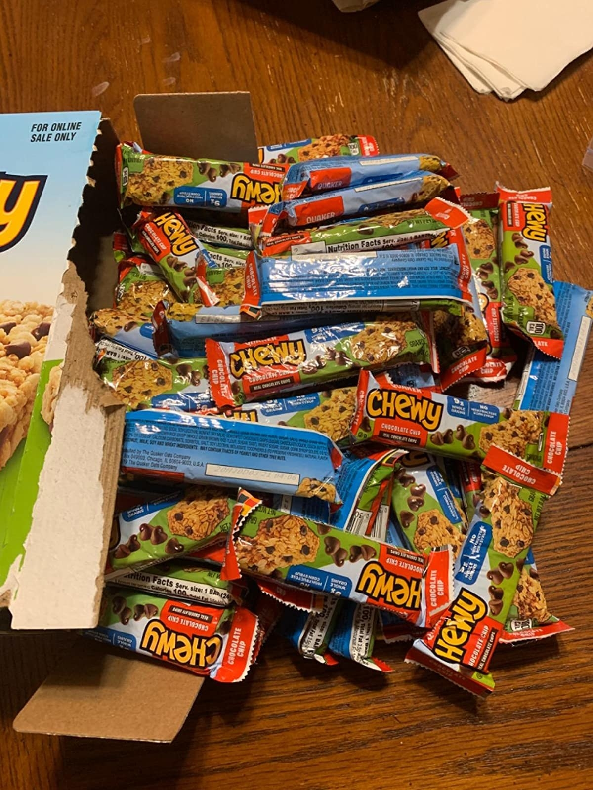 the granola bars spilling out of the box