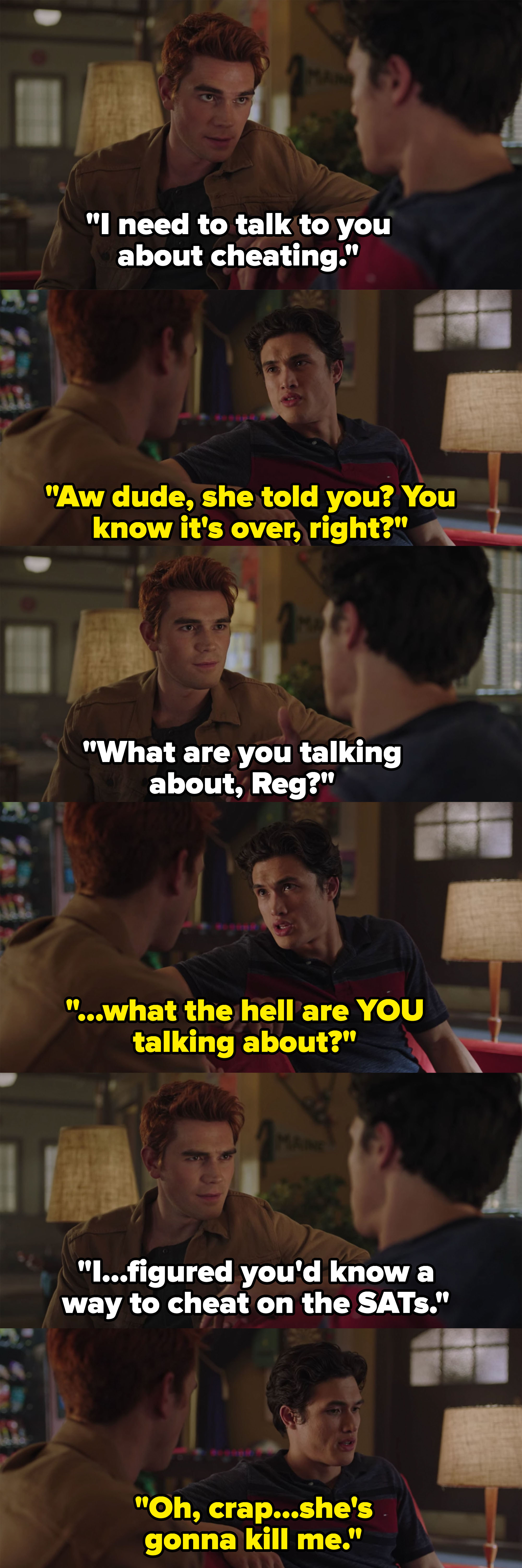 """Archie comes to Reggie for help cheating on the SATs, Reggie thinks he's asking about """"cheating"""" with Veronica"""