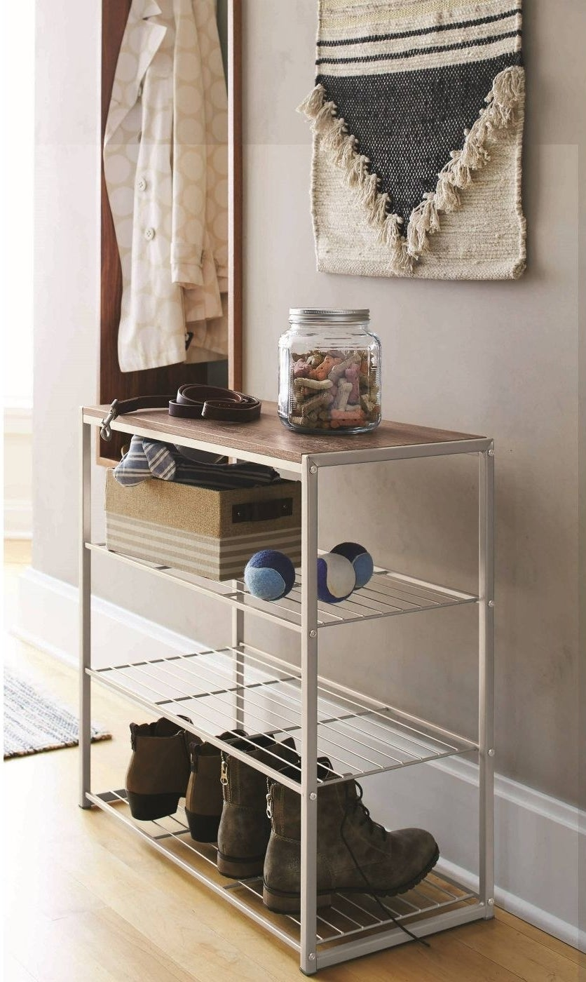 A shoe rack in a home