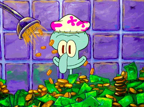 """Squidward from """"SpongeBob SquarePants"""" showering in money and smiling"""