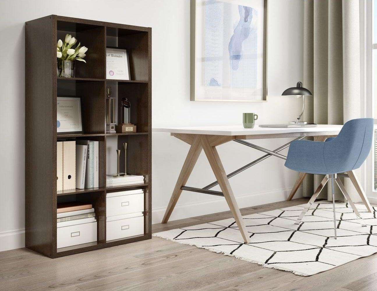 A brown storage unit shelf in a home
