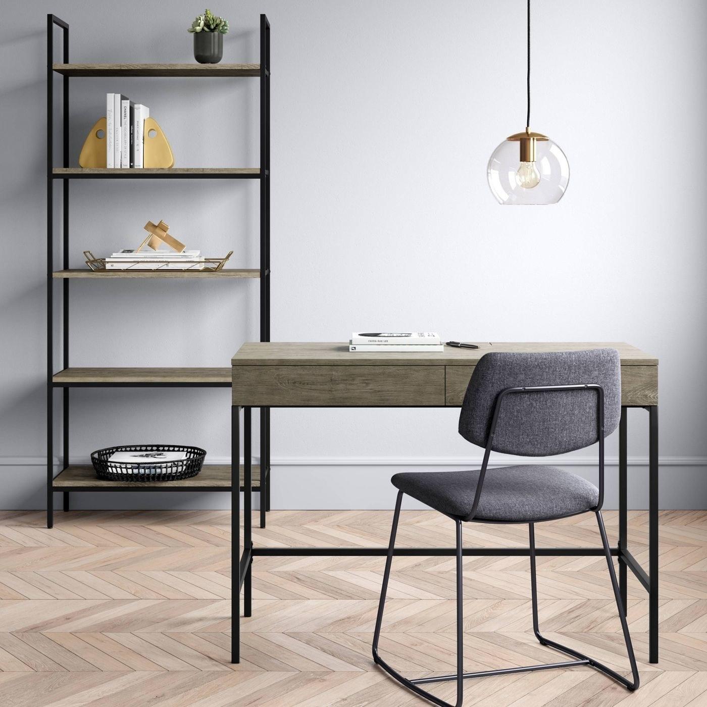 A grey desk in a home