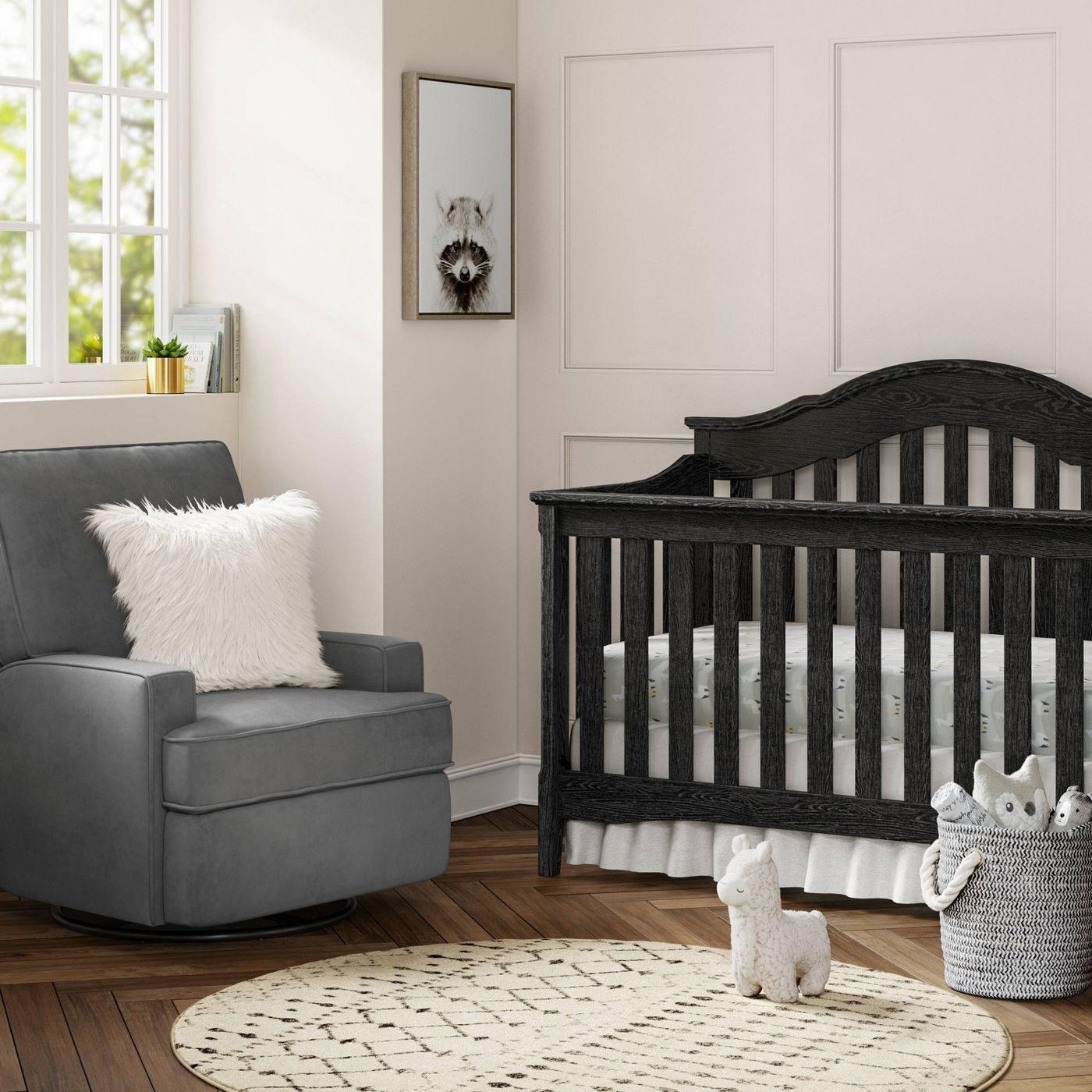 A grey chair in a nursery