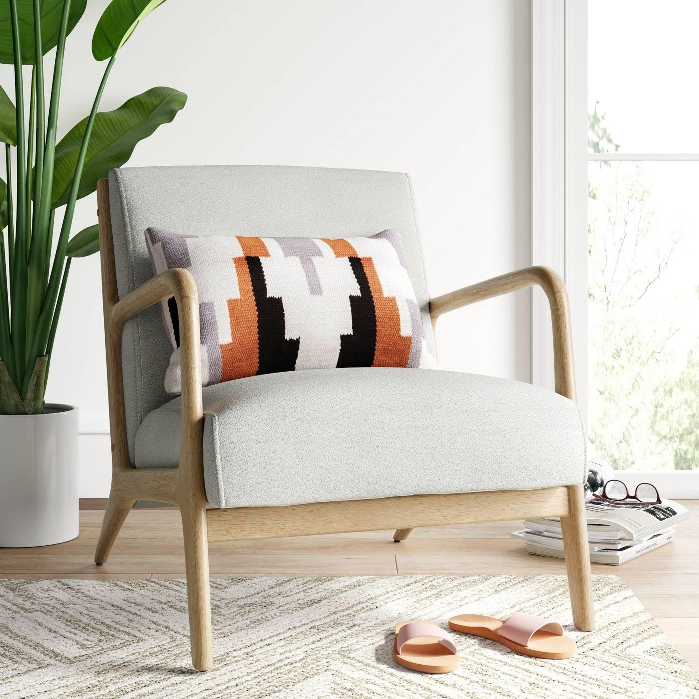 A white chair in a home