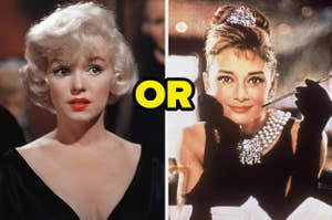 Marilyn Monroe is on the left looking serious with Audrey Hepburn on the right, leaning on a table