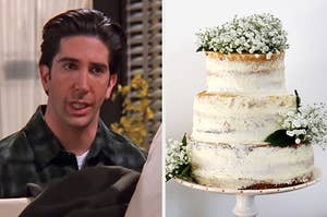 "On the left, Ross from ""Friends"" gritting his teeth in annoyance, and on the right, 3-tiered naked wedding cake topped with baby's-breath"
