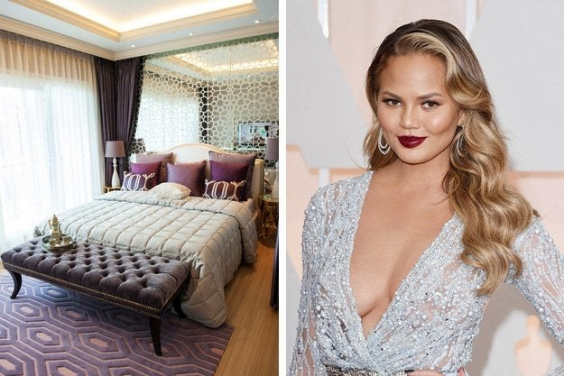 Elegant bedroom and Chrissy Teigen in silver dress