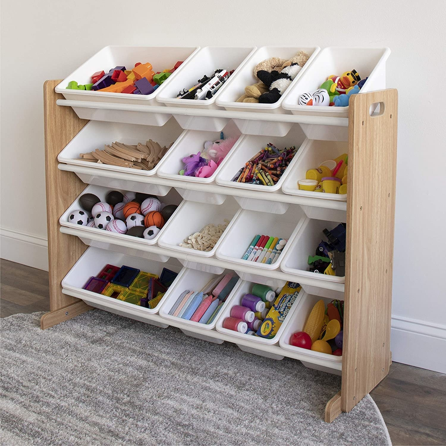 Natural wood frame with white plastic containers. There are four shelves with several containers on each shelf.