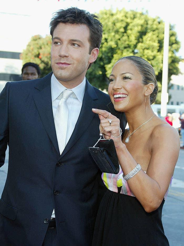 "Ben Affleck and Jennifer Lopez at ""Daredevil"" premiere in 2003"