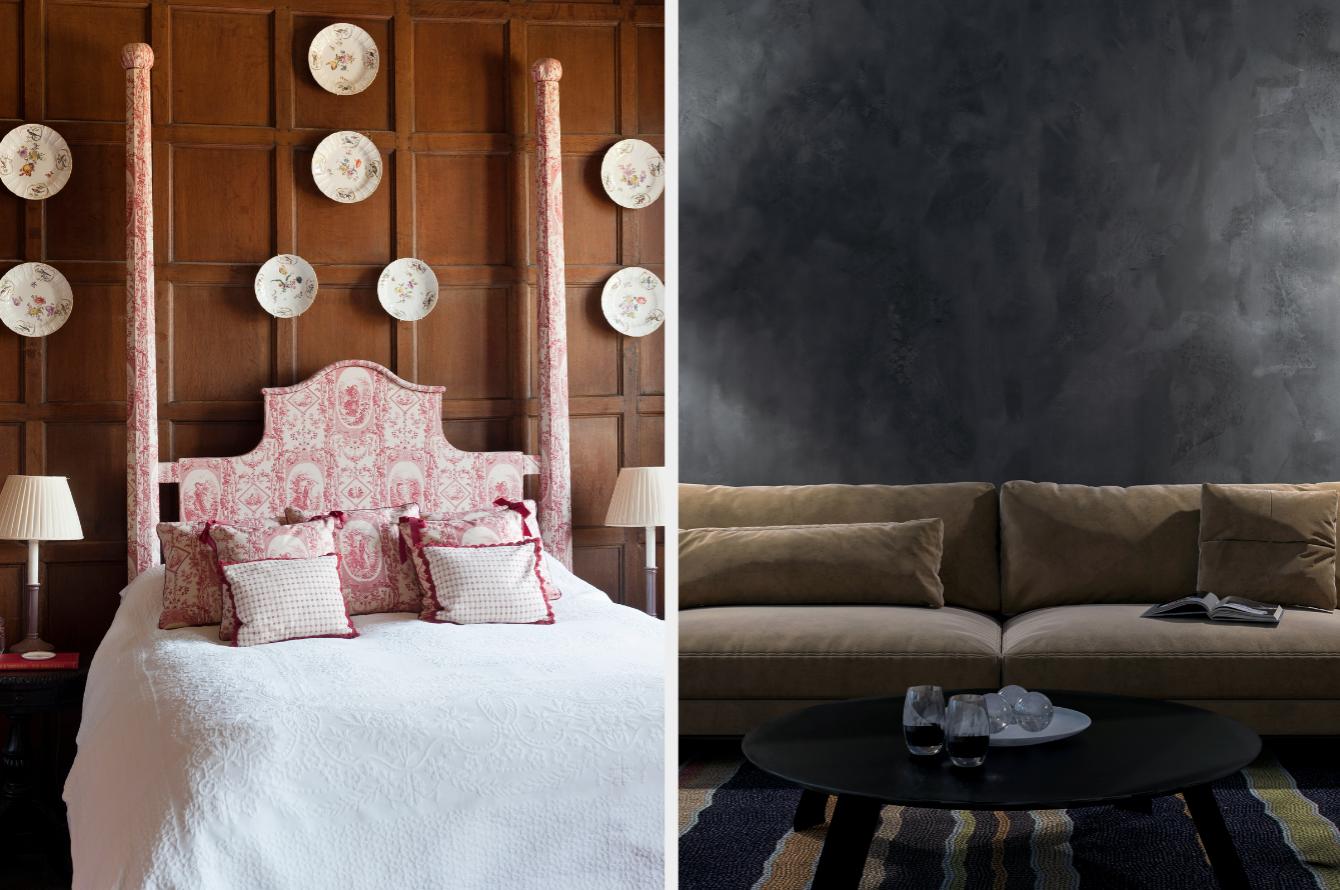 Pink ornamental bedroom and dark grey living room