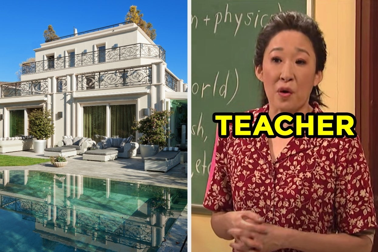 Mansion over a pool and teacher